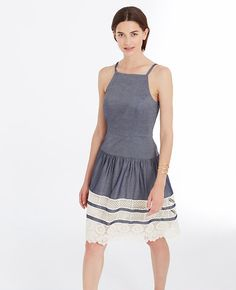Image of Tiered Lace Chambray Dress