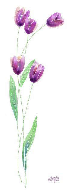 Purple Tulips Digital Art -  Arline Wagner