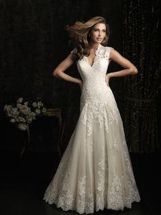Vintage Lace V-neck Applique Embroidery Wedding Dress