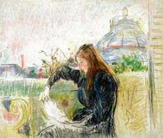Berthe Morisot - On the Balcony, 1893 (Musee Marmottan Monet - Paris France) at Museo Thyssen-Bornemisza Madrid Spain