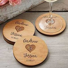 These Rustic Engraved Wood Coasters are gorgeous! These personalized coasters can be engraved with any 2 names and date - they make a great wedding gift idea or wedding favor idea!