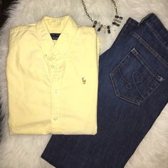 Yellow Short Sleeved Polo Adorable top for the spring!! Wear with skinny jeans and wedges, or tuck into a high waisted skirt with stilettos! Versatile for styling. Sleeves button on the back. Ralph Lauren Tops Button Down Shirts
