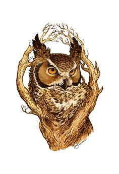 White Great Horned Owl on a tree branch | Great Horned Owl Art Print by April Schumacher | Society6