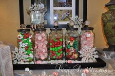 diy christmas candy jars, christmas decorations, crafts, seasonal holiday decor