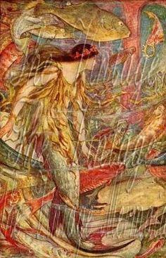 Vintage Victorian Mermaid Fabric by thevintagemermaidcom on Etsy, $7.00