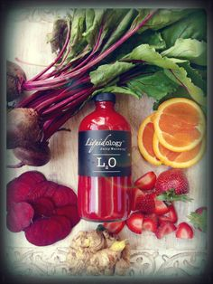Bottoms Up. Fruits and roots...organic cold pressed juice from Liquidology.