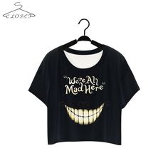 Alice in Wonderland Cheshire Cat T Shirt Black We Are Mad Here Short Sleeve