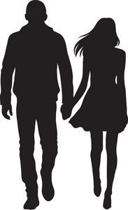 Man And Woman Silhouette Clip Art | Couple Clipart Image - Silhouette of a couple, a boy and girl holding ...: