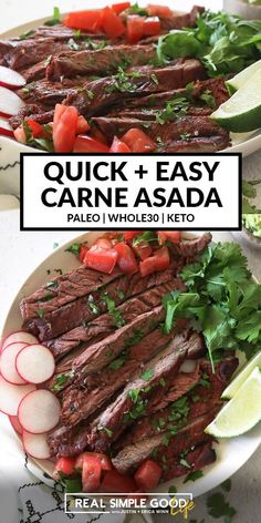 A simple marinade makes this quick and easy carne asada recipe as authentic tasting as it gets! You'll love the smoky citrus notes from the fresh marinade and seasonings. An easy healthy grilling recipe that's Paleo, Whole30 and Keto. Make it into carne asada tacos, salad or even a bowl. #grilling #mexican #keto #tacos Healthy Grilling Recipes, Pork Recipes, Paleo Recipes, Mexican Food Recipes, Whole Food Recipes, Cooking Recipes, Asada Tacos, Skirt Steak, Carne Asada