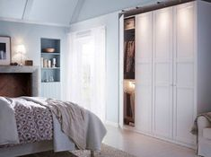 Bedroom:Bright White Painted Wood Wardrobe Design Bedroom With White Fabric Curtain And Glass Window Also Textured Wood Floor Design and Placement of Wardrobe for Your Bedroom Ikea Bedroom Design, Ikea Bedroom Furniture, Wardrobe Design Bedroom, Bedroom Colors, Bedroom Decor, Bed Ikea, Bedroom Ideas, Bedroom Storage Inspiration, Bedroom Furniture Inspiration