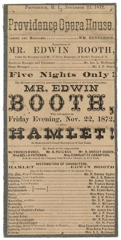 Playbill for Hamlet November 1872