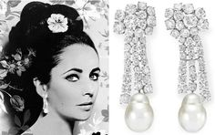Pearl and diamond earrings by Ruser. Elizabeth Taylor collection, Christie's.