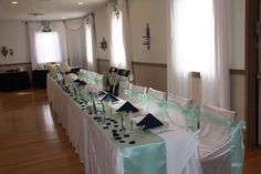 Mint and navy wedding head table