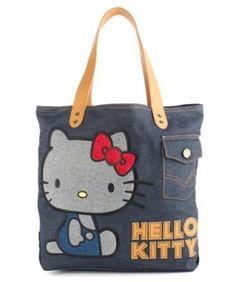 78d73eb0d445 Hello Kitty Denim Vintage Fashion Tote Bag Purse  Handbags  Amazon.com