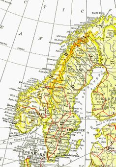 Antique Images: Free Digital Map Background: Vintage Map Image of Europe Sweden, Norway, and Finland