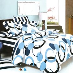 Black White & Blue Polka Dot Stripe Teen Girl Bedding Duvet Cover Sets Twin Full Queen King Size and other furniture & decor products. Full Duvet Cover, Comforter Cover, Bed Duvet Covers, Duvet Bedding, Comforter Sets, Duvet Cover Sets, Pillow Shams, Blue Bedding, Neutral Bedding