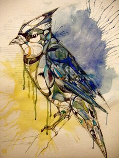 Watercolor Splashed Blue Jay.