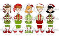 Build An Elf Ornament Set 1 Bottle Cap Images 4x6 Printable Bottlecap Collage. $1.99, via Etsy.