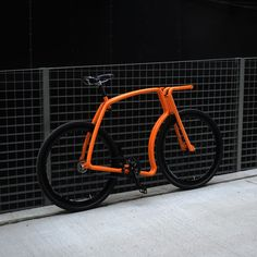 Viks Bicycle // Orange Frame + Black Rims + Black Tires   (Belt, Fixed Gear, Small)
