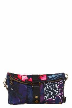 Desigual Women's Flores David bag with a buckle and zip fastening and a detachable strap. Measurements: 28x16x2.5 cm. / 11.02
