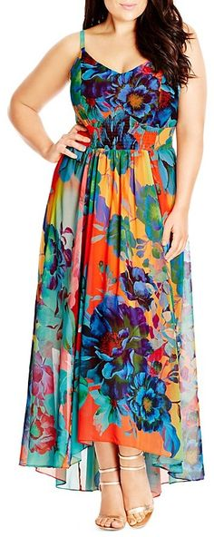 Plus Size Hot Summer Days Floral Print Maxi Dress