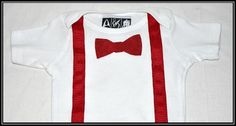 Doctor Who Onesie with Bow Tie and Red Ribbon Suspenders | Geek-a-bye Baby