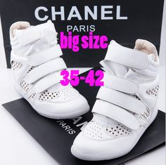 Find More Women's Fashion Sneakers Information about 2014 autumn Wholesale Isabel Marant Hi top Wedge Sneakers,hollow Leather,Gray White,35~42,Heel 6cm,Women Shoes increasing 85 ,High Quality Women's Fashion Sneakers from ATT store on Aliexpress.com