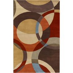 @Overstock - This geometric design rug features hand carved details. Shades of brown, red and blue highlight this hand-tufted rug.http://www.overstock.com/Home-Garden/Hand-tufted-Contemporary-Multi-Colored-Circles-Mayflower-Wool-Geometric-Rug/5509506/product.html?CID=214117 $109.99