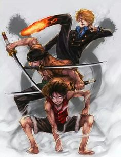 Strawhat Monster Trio: Monkey D. Luffy, Roronoa Zoro, Sanji One Piece Anime One Piece, One Piece ルフィ, One Piece Luffy, Roronoa Zoro, Zoro Nami, Manga Anime, Manga Art, Anime Art, Hot Anime