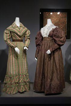 left: roller-printed cotton dress, circa 1821, England; right: jacquard-woven silk dress, circa 1830