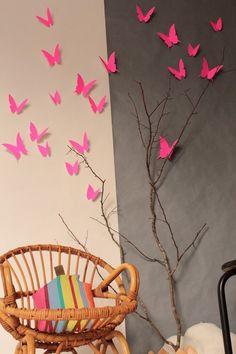 Neon butterflies - Image of Envolée de papillons rose fluo/blanc // claradeparis.com ♥