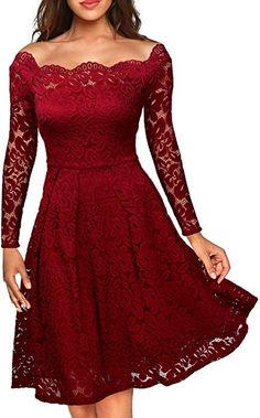MISSMAY Women's Vintage Floral Lace Long Sleeve Boat Neck Cocktail Formal Swing Dress Red XX-Large Casual Dresses For Women, Semi Formal Dresses, Boat Neck, Pinup, Holiday Dresses, Christmas Dresses, Spring Dresses, Rockabilly, Dress Fashion