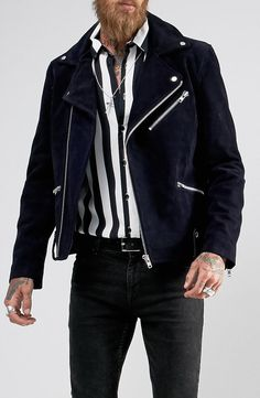 Black Dust Reed Suede Biker with Borg Collar in Navy from ASOS (men, style, fashion, clothing, shopping, recommendations, stylish, menswear, male, streetstyle, inspo, outfit, fall, winter, spring, summer, personal)