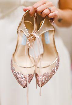 Pink sparkles, Betsey Johnson, gold heels // Luke and Ashley Photography