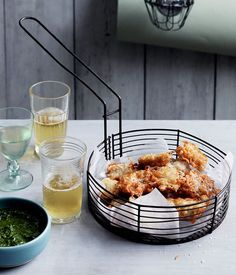 Baby whitebait fritters with rosemary and anchovy dipping sauce recipe :: Gourmet Traveller