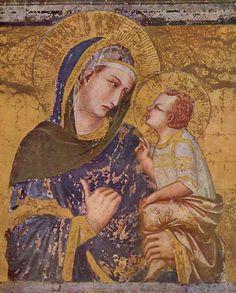 Pietro Lorenzetti - Madonna dei Tramonti is a 1330 Madonna fresco by the Italian artist Pietro Lorenzetti. It is located in the Basilica of San Francesco d'Assisi, in Assisi, Italy. Madonna Und Kind, Madonna And Child, Francis Of Assisi, St Francis, Italian Painters, Italian Artist, Fresco, Renaissance Kunst, San Francisco