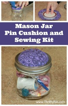 This is a guide about mason jar pin cushion and sewing kit</i>. An easy project to customize for a gift. People of all ages need a needle and thread for mending or to replace a button.