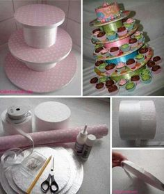 6 Wonderful How To Make A Cupcake Stand For 100 Cupcakes Cake And Cupcake Stand, Cupcake Cakes, Cupcake Display, Cup Cakes, Homemade Cupcake Stands, Cupcake Tier, Cupcake Holders, Book Cakes, Cute Wedding Ideas