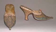 Slippers (Mules), 1710-29. French, leather & silk. Metropolitan Museum of Art.