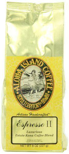 Aloha Island Coffee Company Espresso II Luxurious Estate Kona Coffee Blend 8Ounce Bag *** Want additional info? Click on the image.