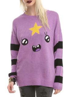 Purple and black knit sweater from Adventure Time with Lumpy Space Princess design.