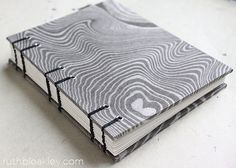 marbled black and white book handmade by Ruth Bleakley - suminagashi