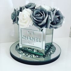 Created by Tartan Lily Designs Blush Centerpiece, Diy Flower Boxes, Chanel Flower, Chanel Party, Chanel Decor, Glamour Decor, Paper Quilling Designs, Luxury Flowers, Diy Gift Box