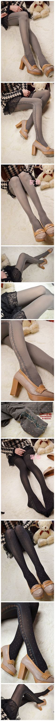 6d0c9a0364c5a early autumn winter Fashion sexy vintage sidepiece flower polka dot  pantyhose velvet grey leggings 711810 PL12061203