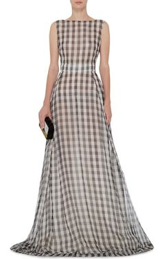 Gingham Gown With Tulle Back by ROCHAS Now Available on Moda Operandi