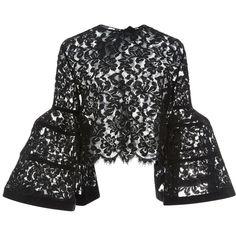 Carolina Herrera Bell Sleeve Lace Jacket (62 850 UAH) ❤ liked on Polyvore featuring tops, outerwear, carolina herrera and shirts
