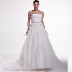 2015 New Arrival A Line Beaded Sash Lace Bridal Gowns Fold Vestidos Pearls Wedding Dress pleats Applique Flower Crisscross
