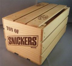 """'Ton of Snickers' Brand Candy Bar Wooden Cargo Box Crate w/ Lid 10""""L x 5""""W EUC"""