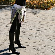 upcycled clothing . XS M . tattered wrap skirt . by pondhopper