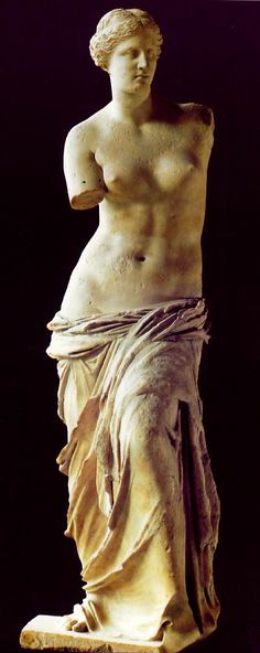 The Venus de Milo sculpture was created sometime between 100 and 130 B.C. it is believed to depict Aphrodite (Venus to the Romans) the Greek goddess of love and beauty. It is at present on display at the Louvre Museum in Paris.